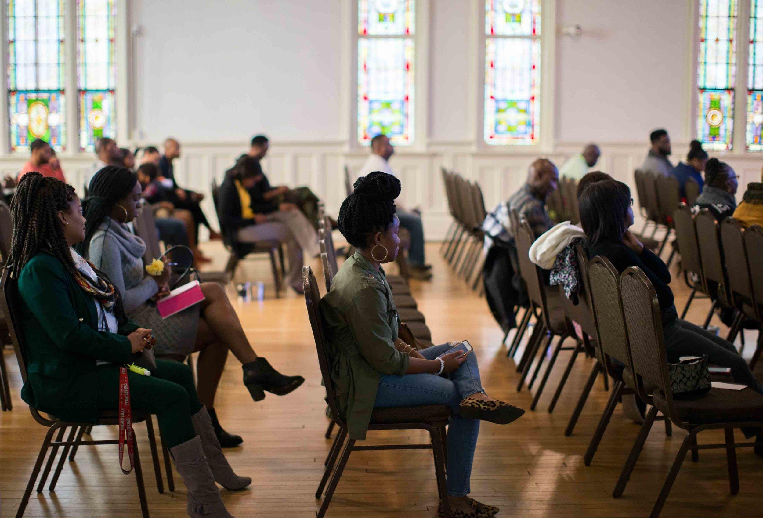 Congregants listen as pastor Billy Honor preaches during a church service at Pulse Church, Sunday, Nov. 13, 2016, in Atlanta.    Branden Camp / for NBC News
