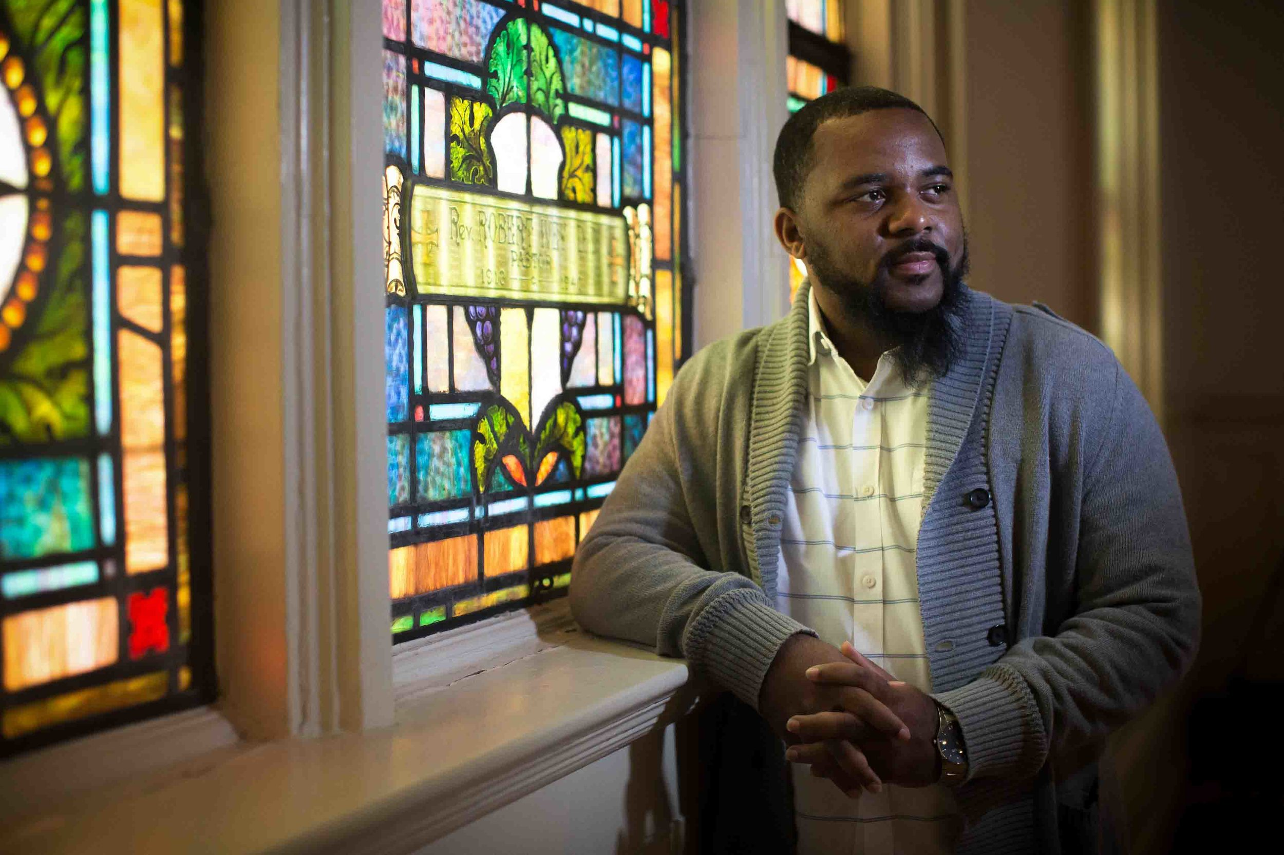 Billy Honor, pastor of Pulse Church, poses for a portrait before a worship service at his church, Sunday, Nov. 13, 2016, in Atlanta.  Branden Camp / for NBC News