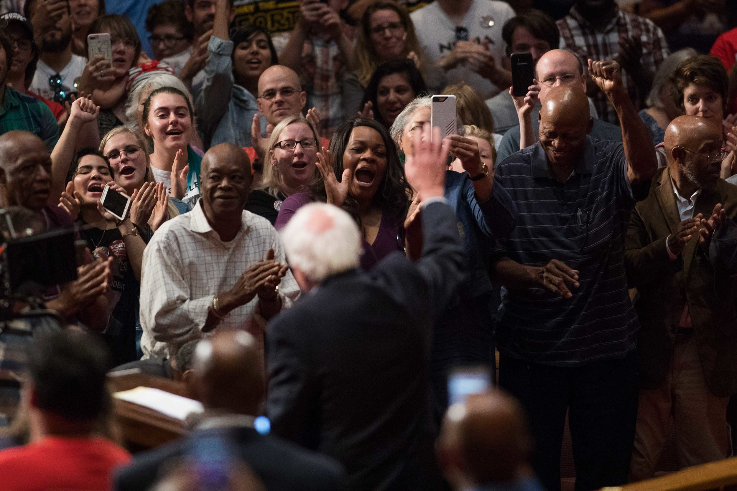 Supporters react to U.S. Sen. Bernie Sanders during a campaign rally for Atlanta mayoral candidate Vincent Fort in Atlanta. Branden Camp for AJC