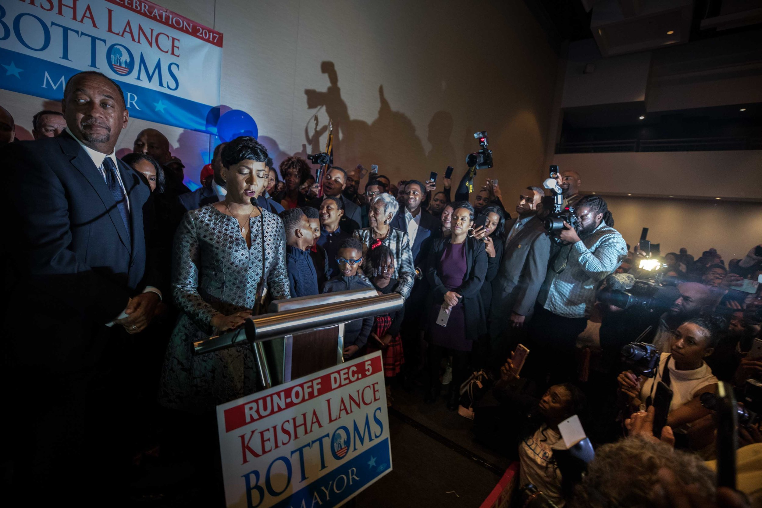 Bottoms speaks to supporters during her election night party.