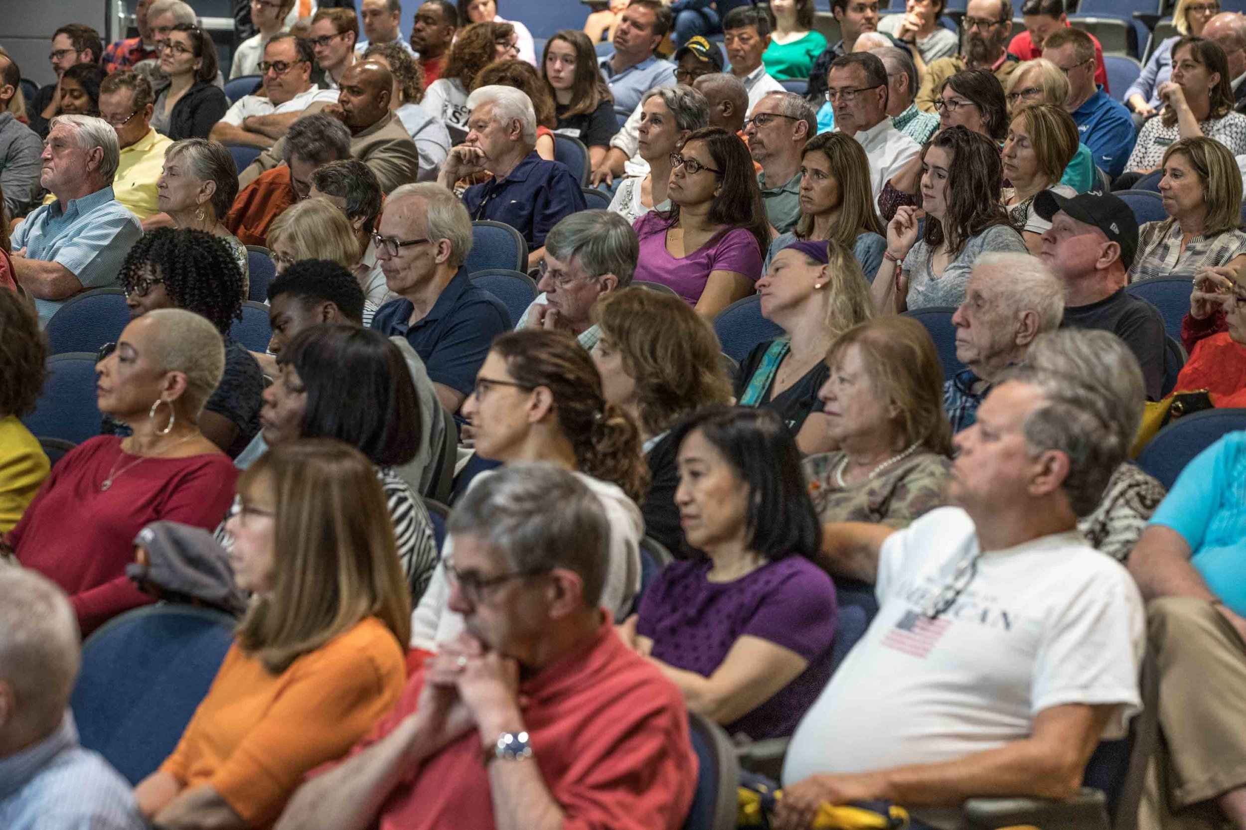 Guest listen as Rep. Lucy McBath, D-Ga., speaks during a town hall at Dunwoody High School on Saturday, June 8, 2019 in Dunwoody, Ga. Branden Camp for AJC