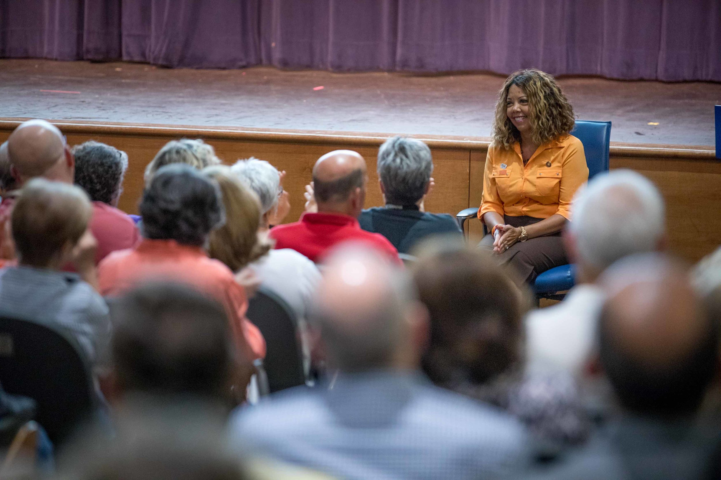 Rep. Lucy McBath, D-Ga., before speaking at a town hall at Dunwoody High School on Saturday, June 8, 2019 in Dunwoody, Ga. Branden Camp for AJC