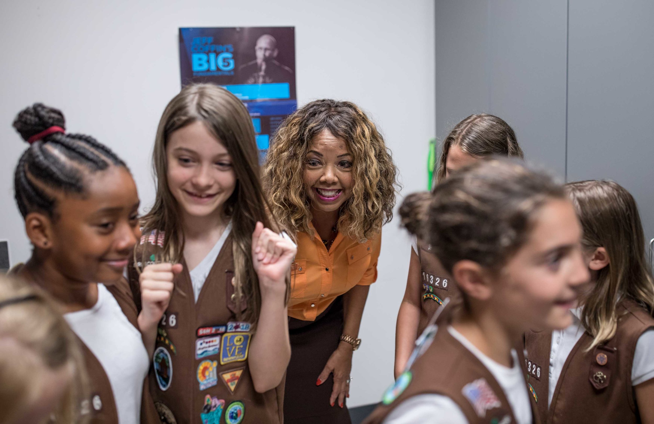 Rep. Lucy McBath, D-Ga., speaks with a group of Girl Scouts before holding a town hall meeting at Dunwoody High School on Saturday, June 8, 2019 in Dunwoody, Ga. Branden Camp for AJC