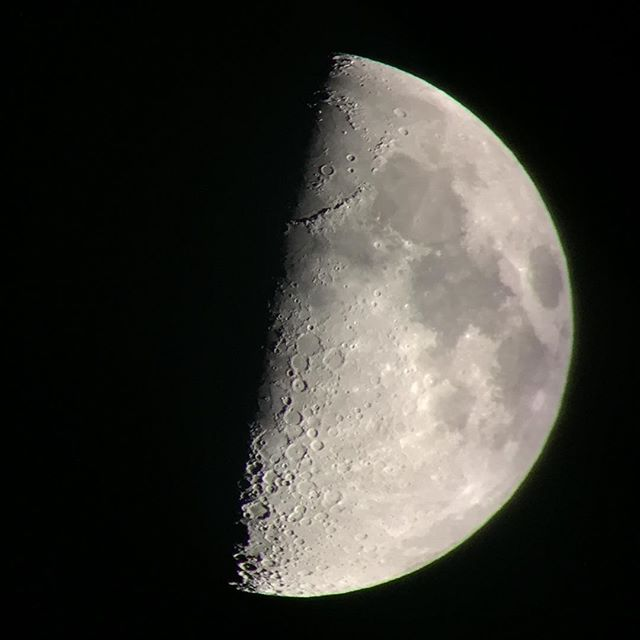 #firstquarter #moon tonight #SanDiego #california taken with #iphone through #vortexviper #scope @vortexoptics