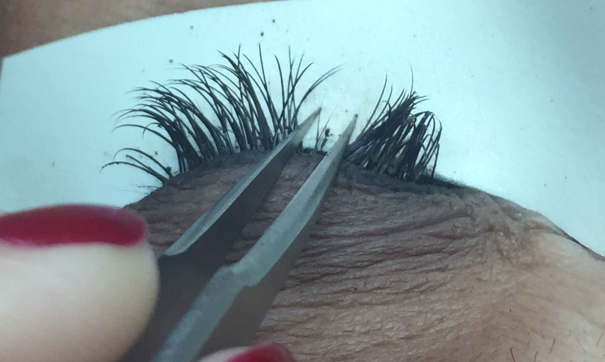 You can see residual eyeliner and eye shadow fall out on these lashes. These are NOT clean lashes. This is what we aim to remove in the cleaning process.