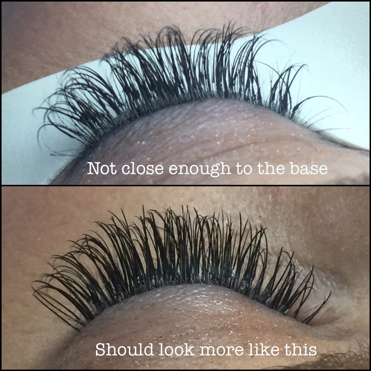 You can see the distance between the lash line (where lashes meet the eyelid) and where the base of the extension starts. This is what healthy growth will also look like. Lashes that become grown out like this need to be removed during fills.