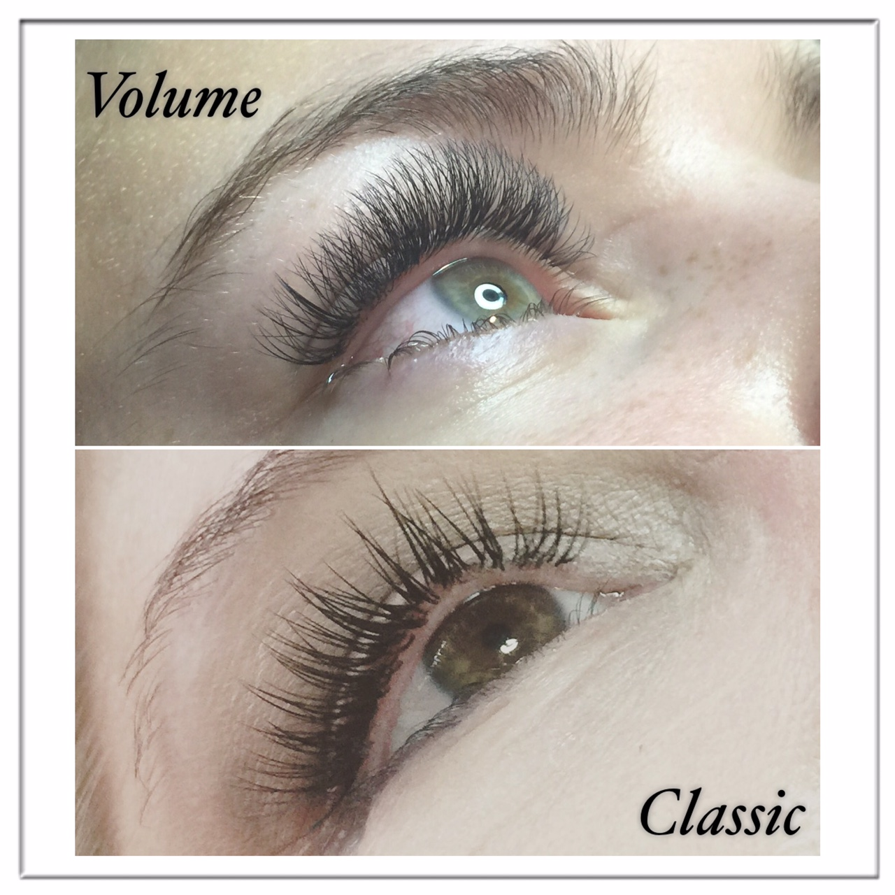 Every length, diameter, and curl is going to look completely different on each individual. In this picture you can see that the volume lashes up top are much more fluffy and soft and the classic lashes look more like mascara.
