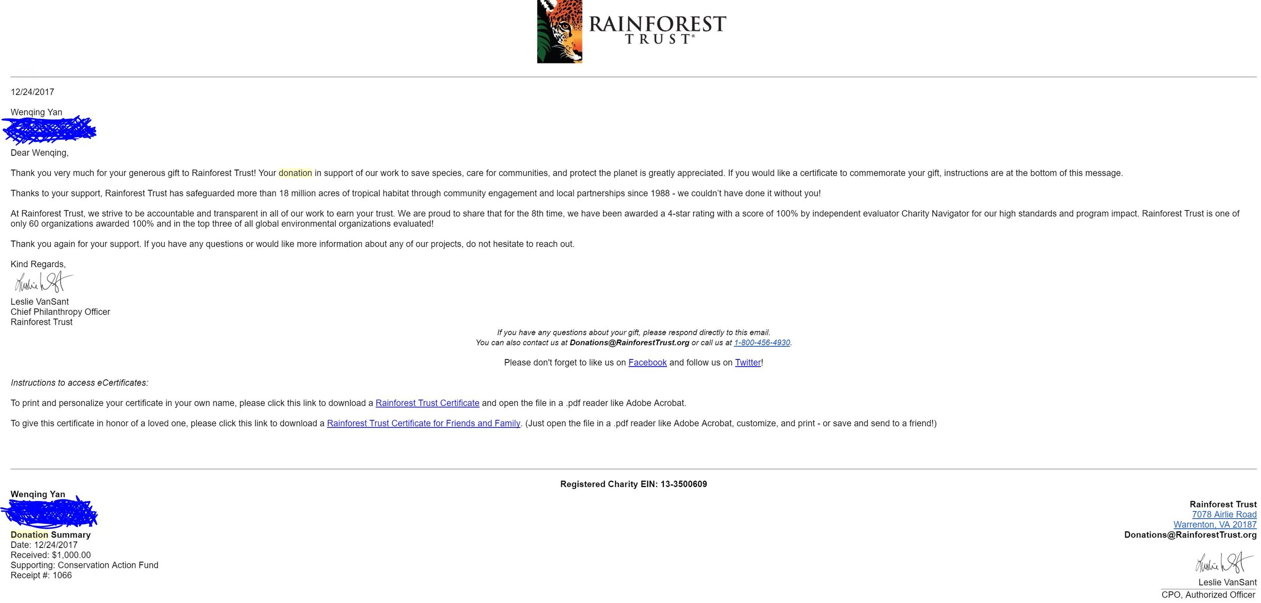 Rainforest Trust 1000 dollars.JPG