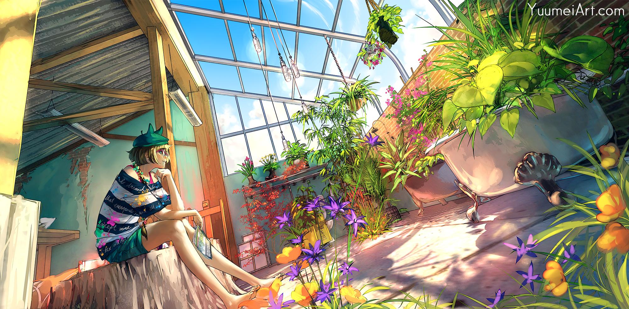 Cocoa from Fisheye Placebo sitting in her warehouse-turned-art-studio-turned-greenshouse.