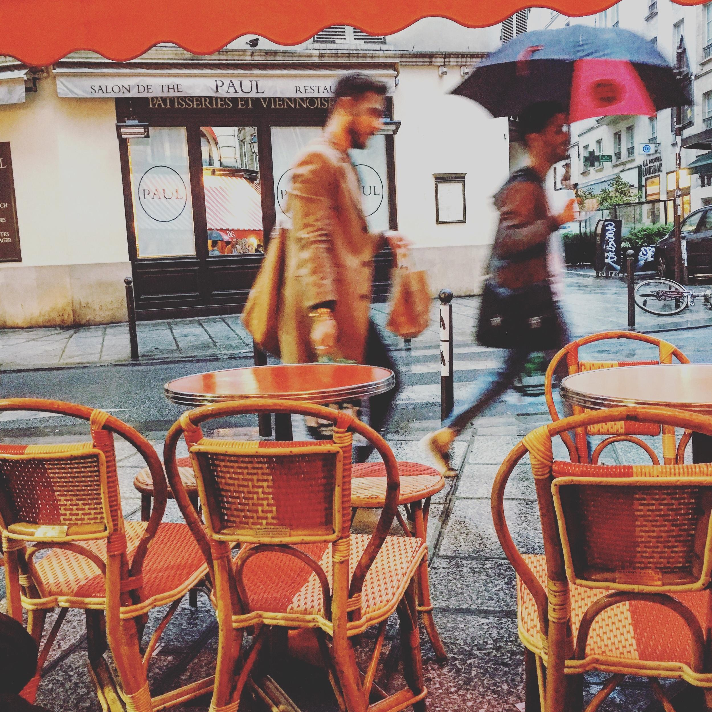 A glass of vin rouge, rain falling, sitting on my Maison J. Gatti ( est. 1920 ) chair. Parfait.