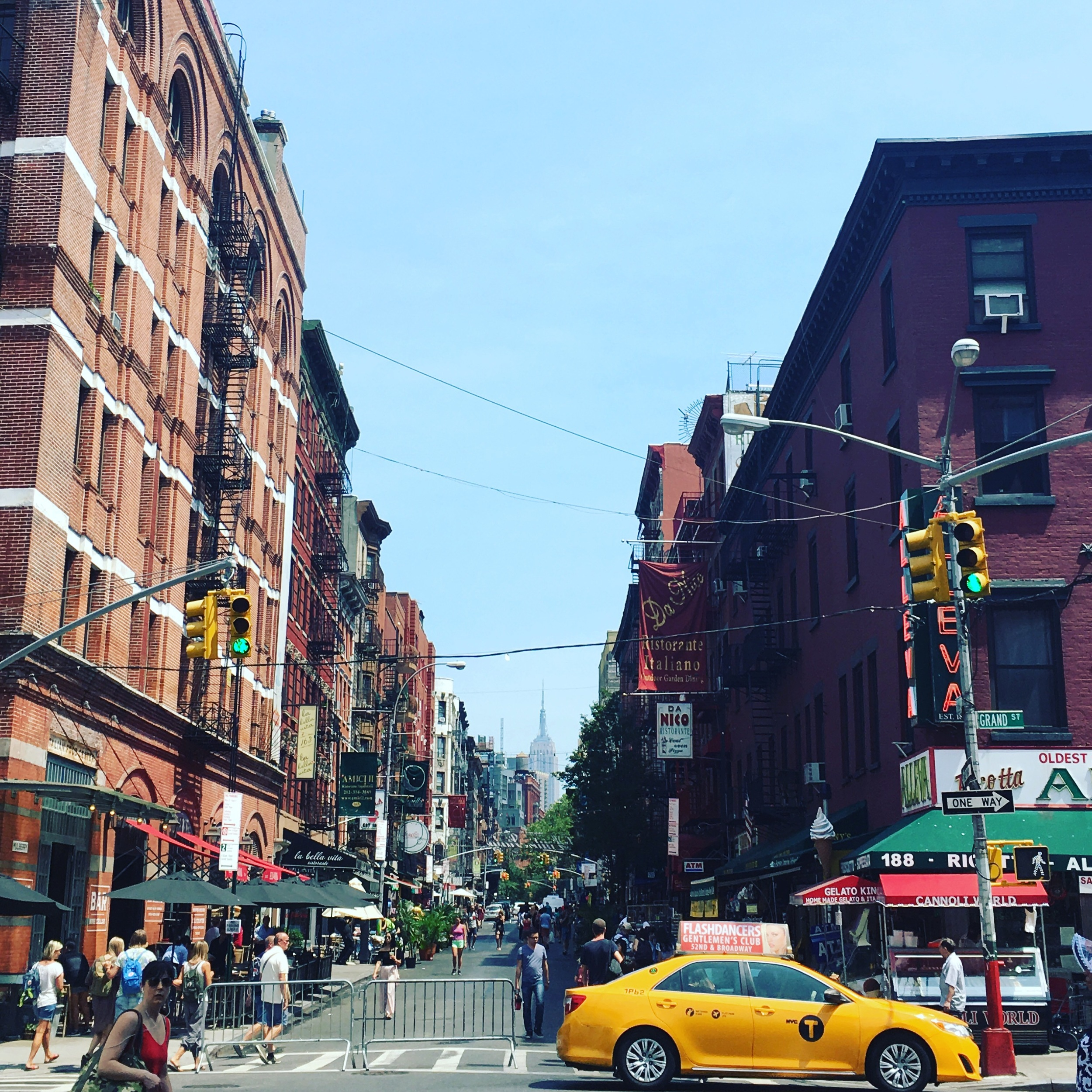 The view looking up to the Empire State building from China Town into Little Italy.