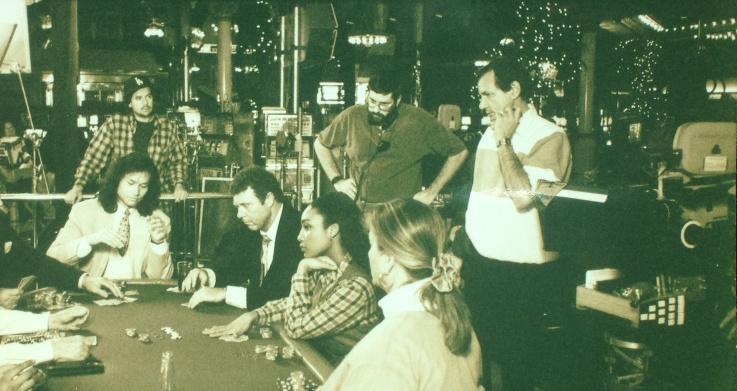 Film crew rehearsing a scene
