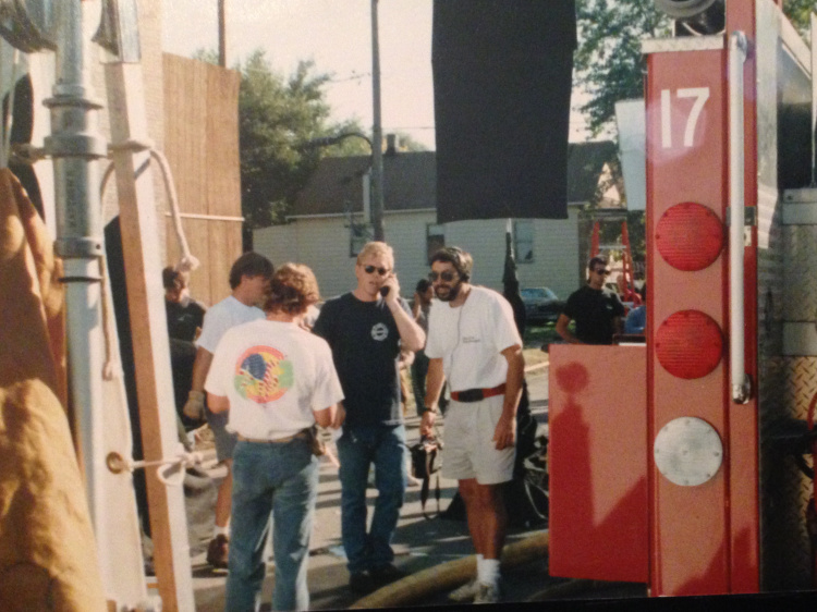 On the set of  Backdraft . Standing next to 2nd Unit Director and Executive Producer, Todd Holland.
