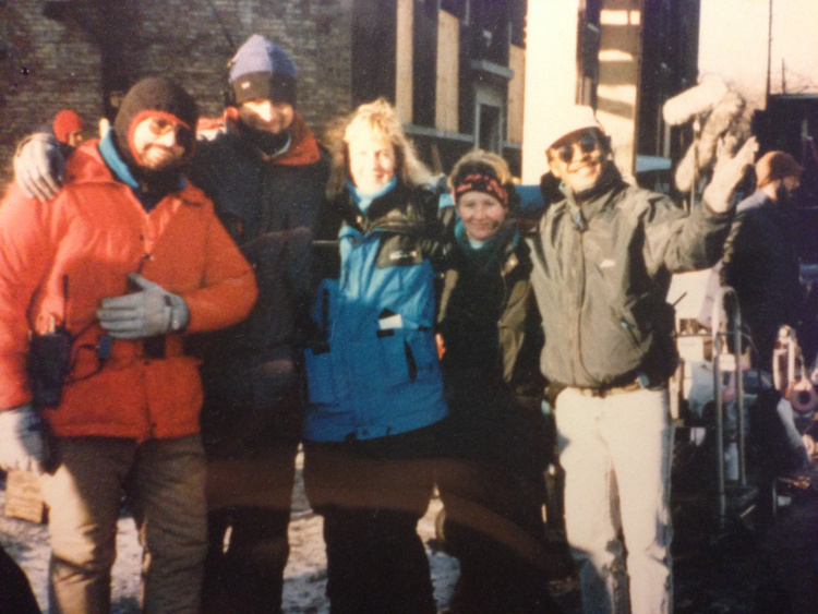 Image from the film  Gladiator  shot in Chicago in 1992 [  From Left to Right – Me (2nd AD), Brian Boyd (PA), Chris Larson (1st AD),Michele Ziegler (2nd 2nd AD) and Mike Phillips (Key PA)]