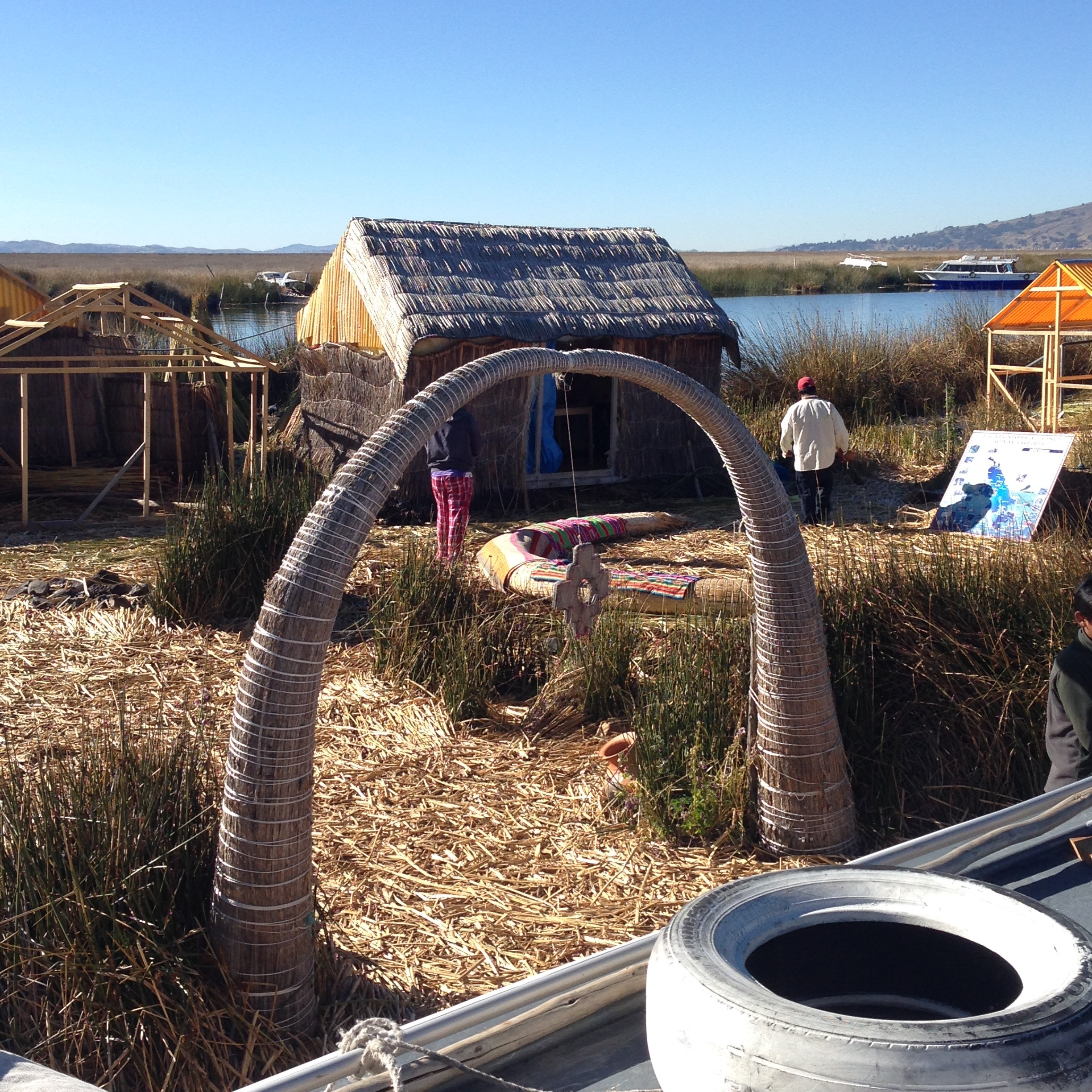 Arriving at one of the Uros islands
