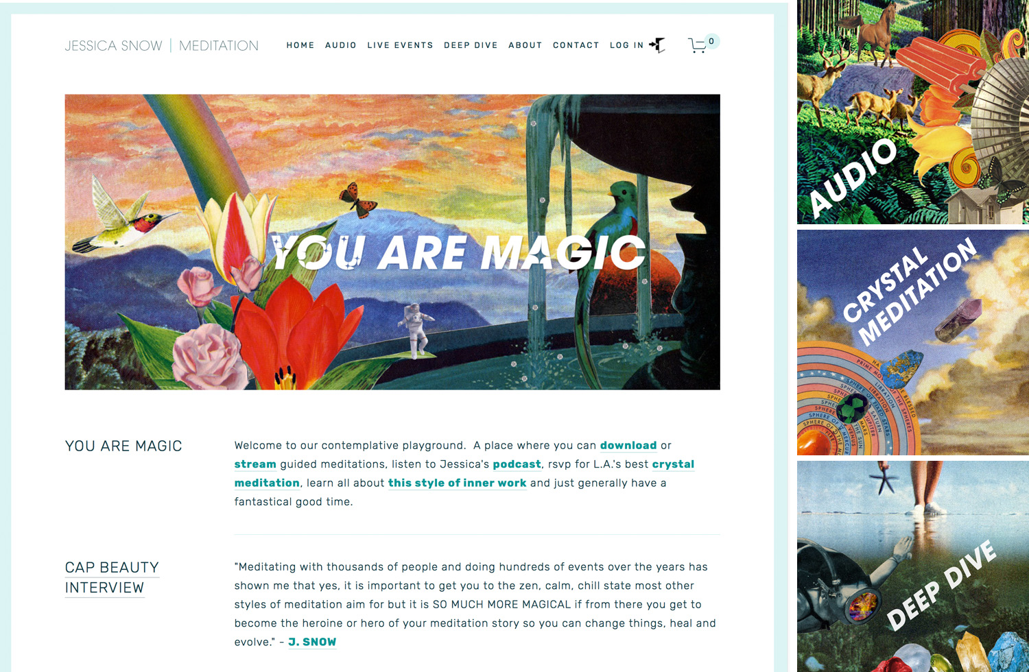 "Collage illustration & website design for  YOU ARE MAGIC  a streaming guided meditation service and ""contemplative playground."""