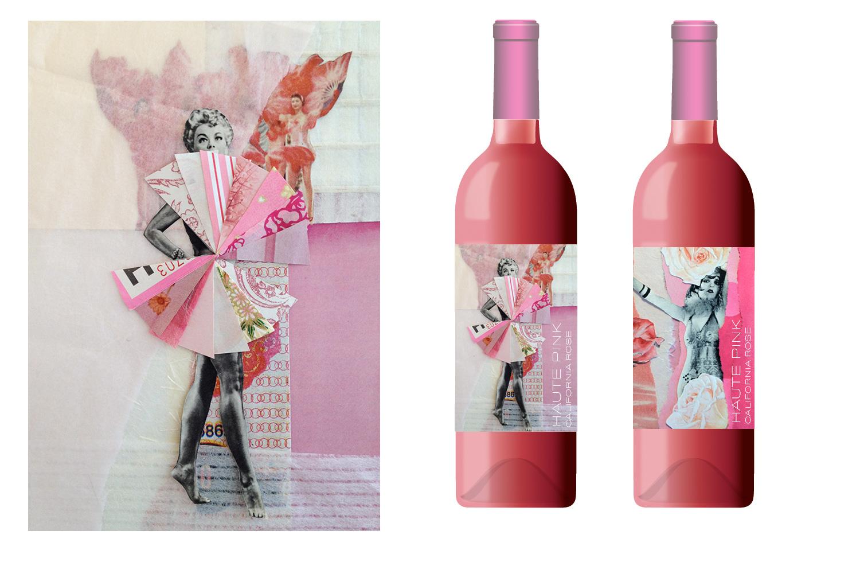 Illustration and design for California Haute Pink Rosé wine label.