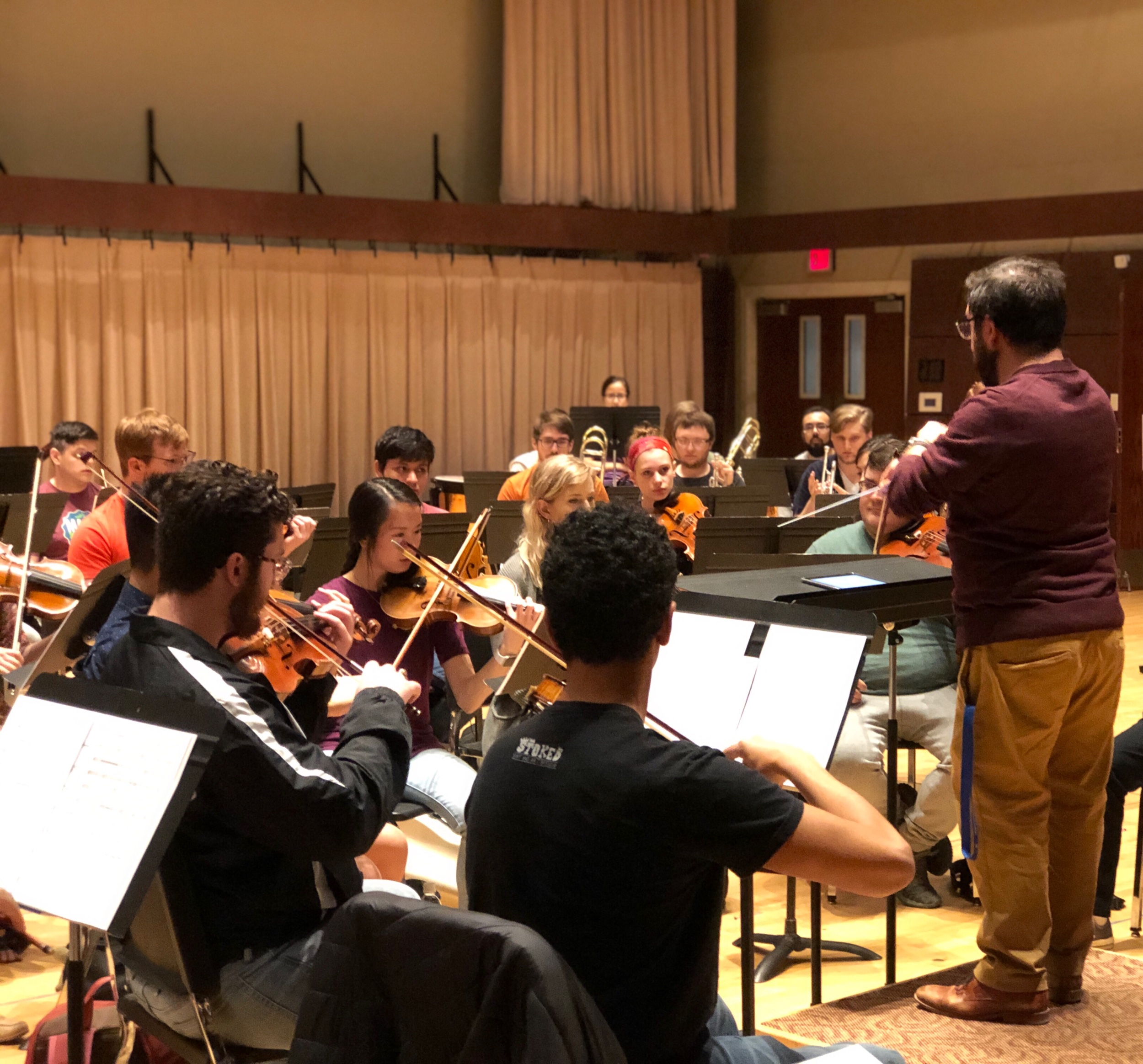 Mathew leads student composer readings as part of the Oklahoma City University Symphony Orchestra New Music Readings in Spring 2019.