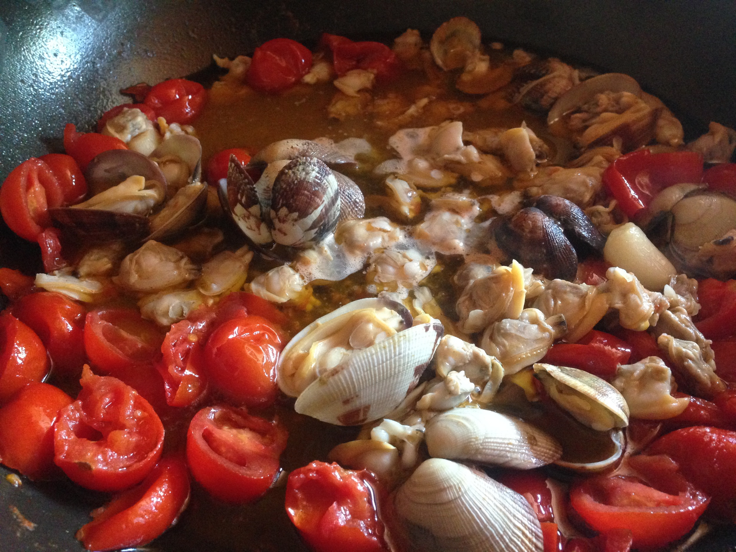 Stewing with tomatoes