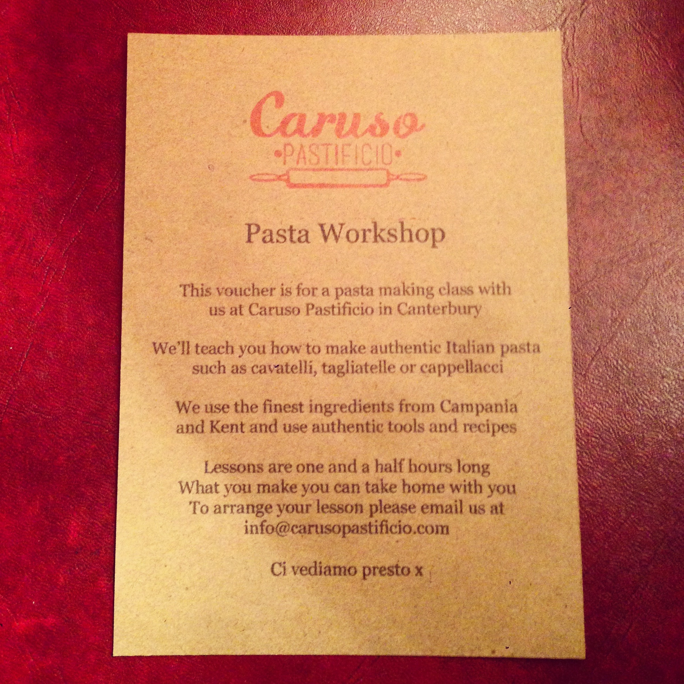 Pasta Workshop Voucher