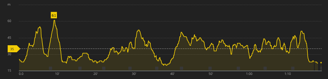 Altitude profile of the run
