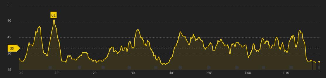 Altitude profile of the run
