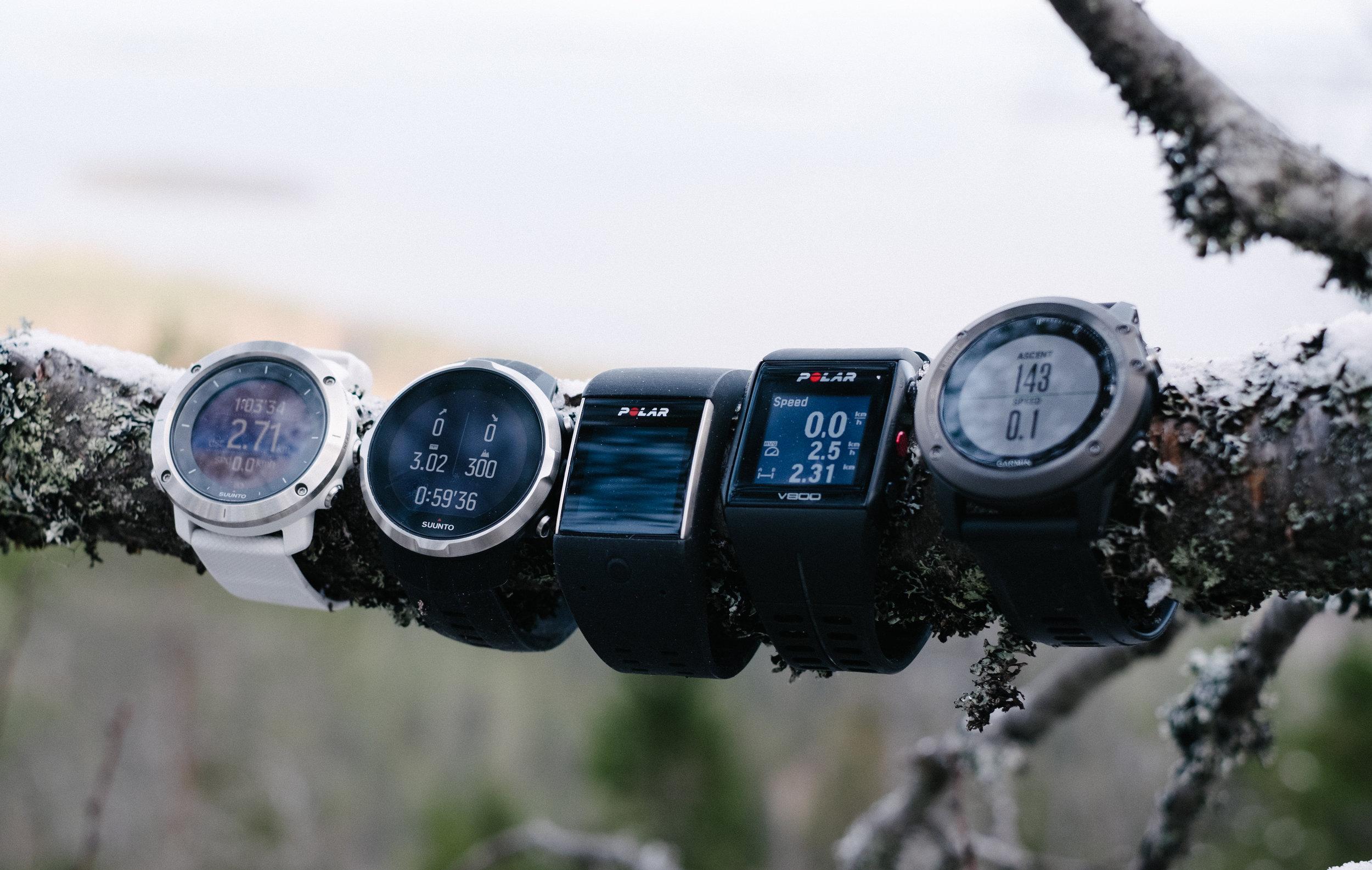 From the left: Suunto Traverse, Suunto Spartan Sport, Polar M600, Polar V800, Garmin Fenix 3 HR
