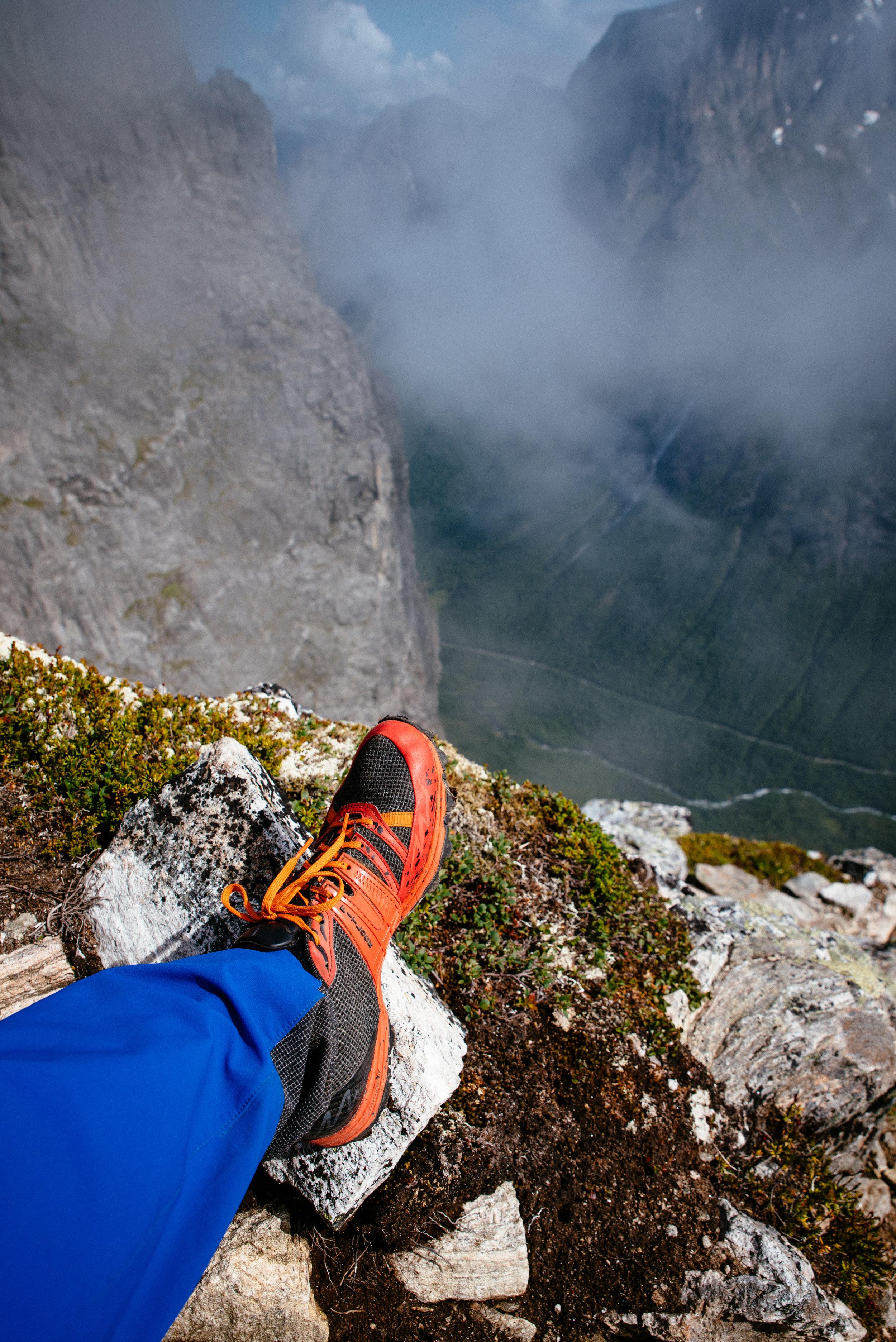 Scrambling up Kongen in Romsdal Norway