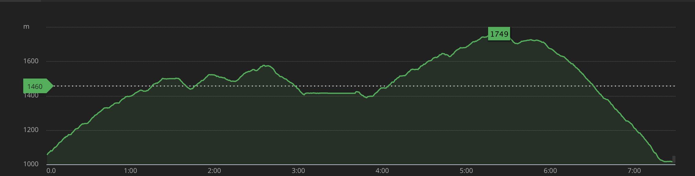 Besseggen altitude profile