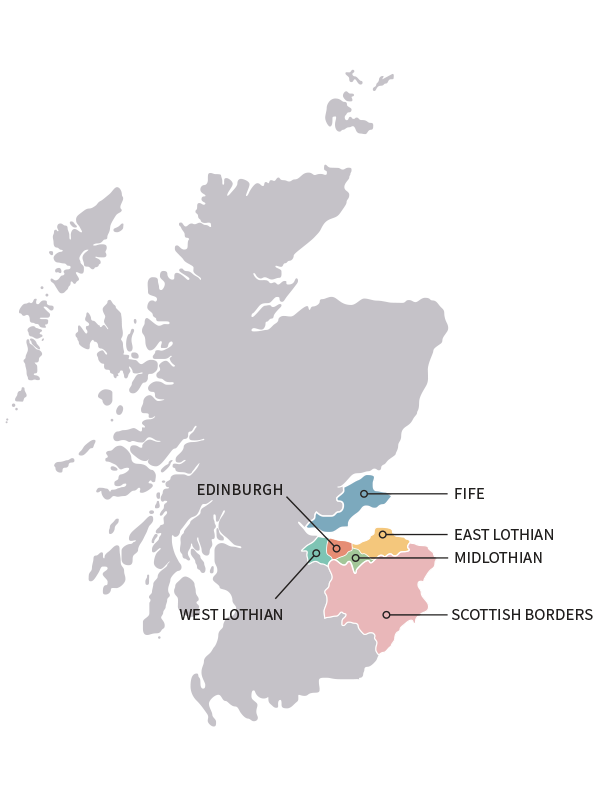 Map of Scotland highlighting the City and South East regions