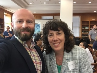 ON Language TESOL intern John McDowell is shown with EnglishUSA Executive Director Cheryl Delk-LeGood at the IEP Mini-Conference, hosted by the University of Georgia in Athens, on February 24, 2018.