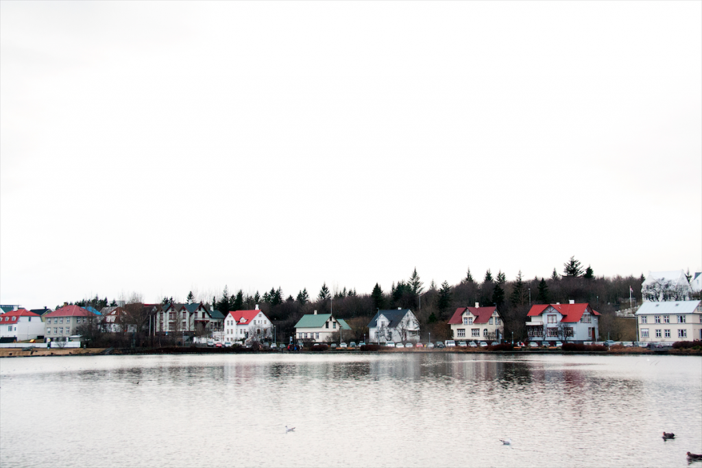 Colourful houses on the lake