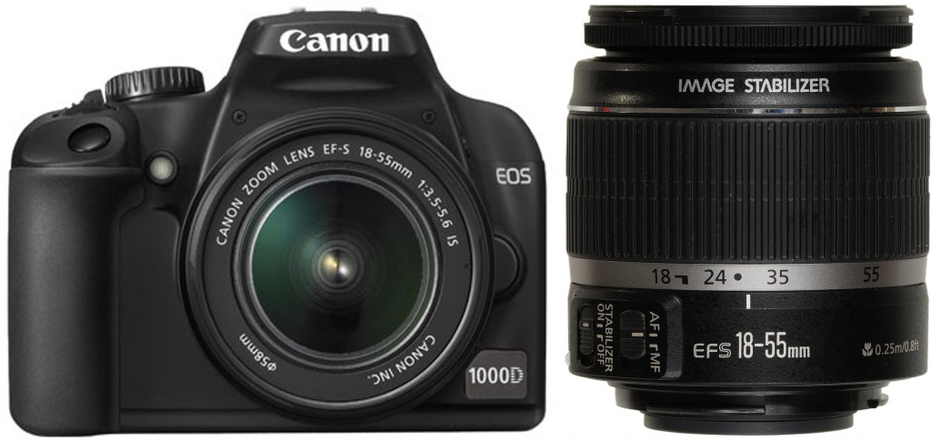 Canon EOS 1000D with EF-S 18-55mm lens attached & the EF-S 18-55mm lens