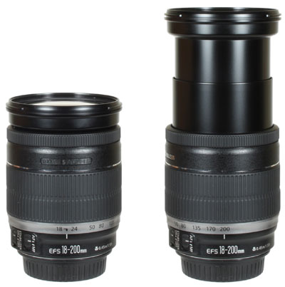 Canon EF-S 18-200mm Lens & in full extension at 200mm