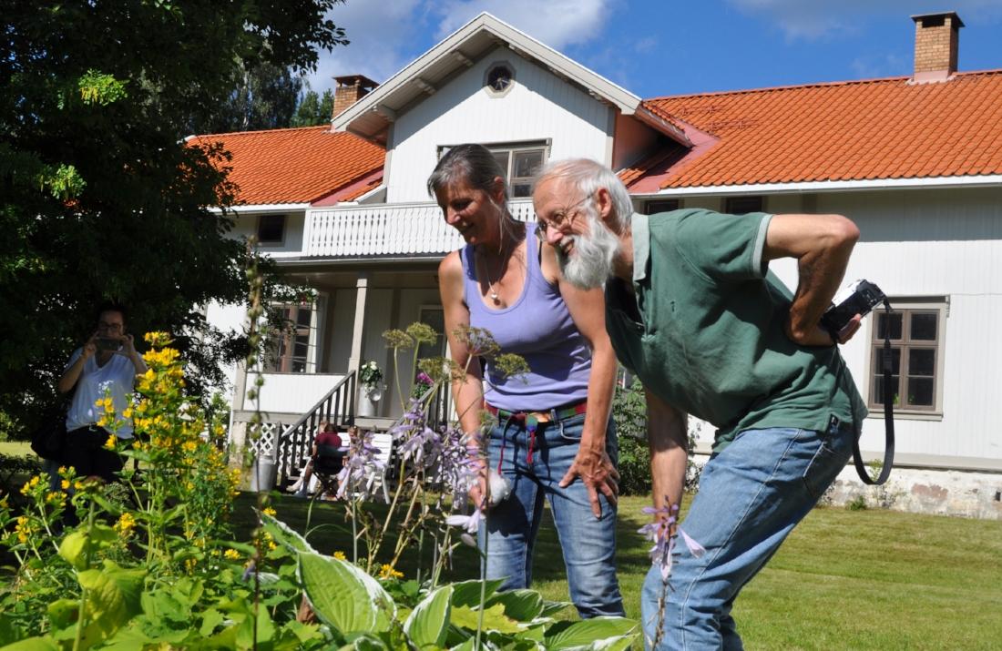 Snuser:  Planter skal studeres, kjennes og luktes på når Margaret M. Meg Anderson og Stephen Barstow er på hagevandring med KVANN.