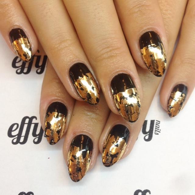 Natural nails with Shellac and gold foil nail art