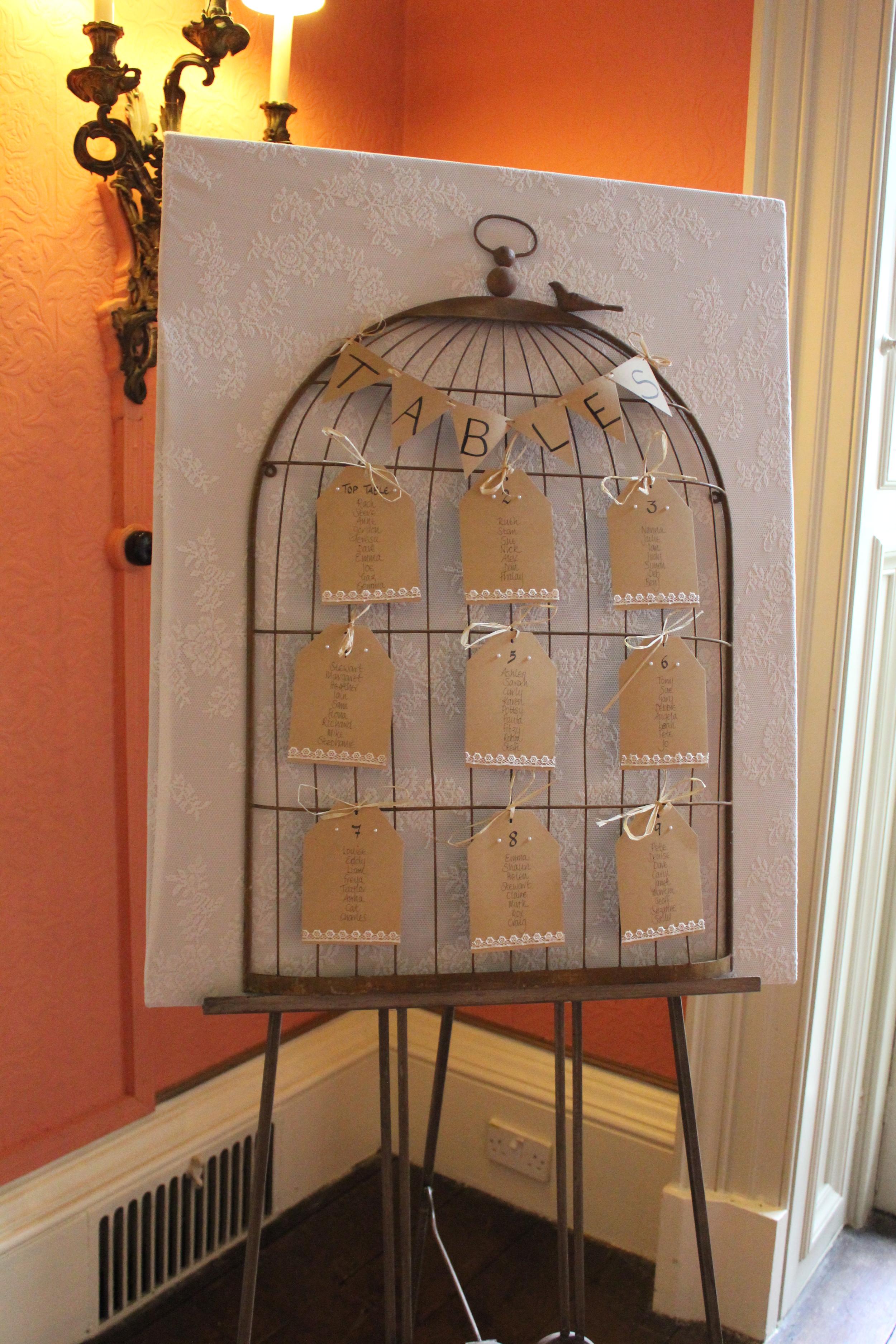 Birdcage seating plan