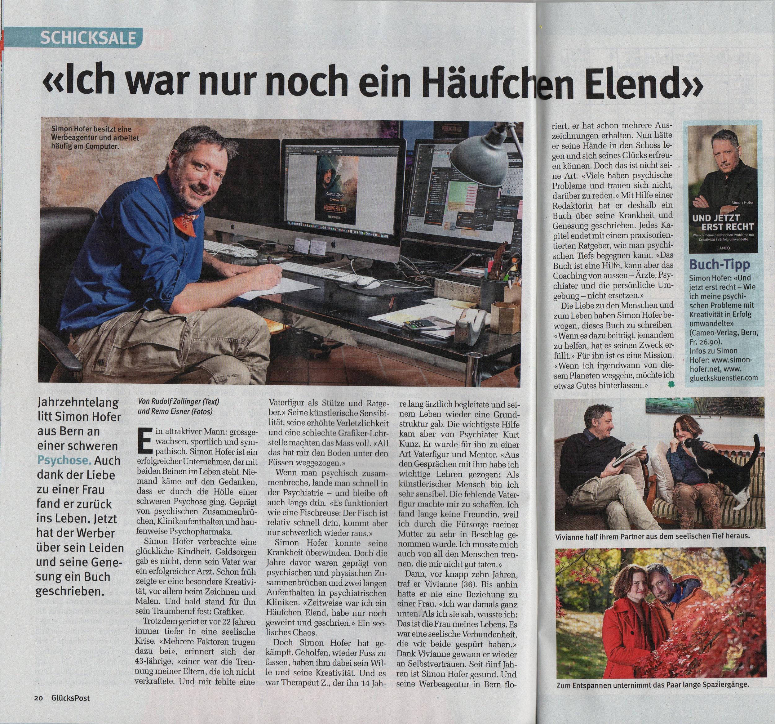 Simon Hofer in der Glückspost vom 14.11.2018