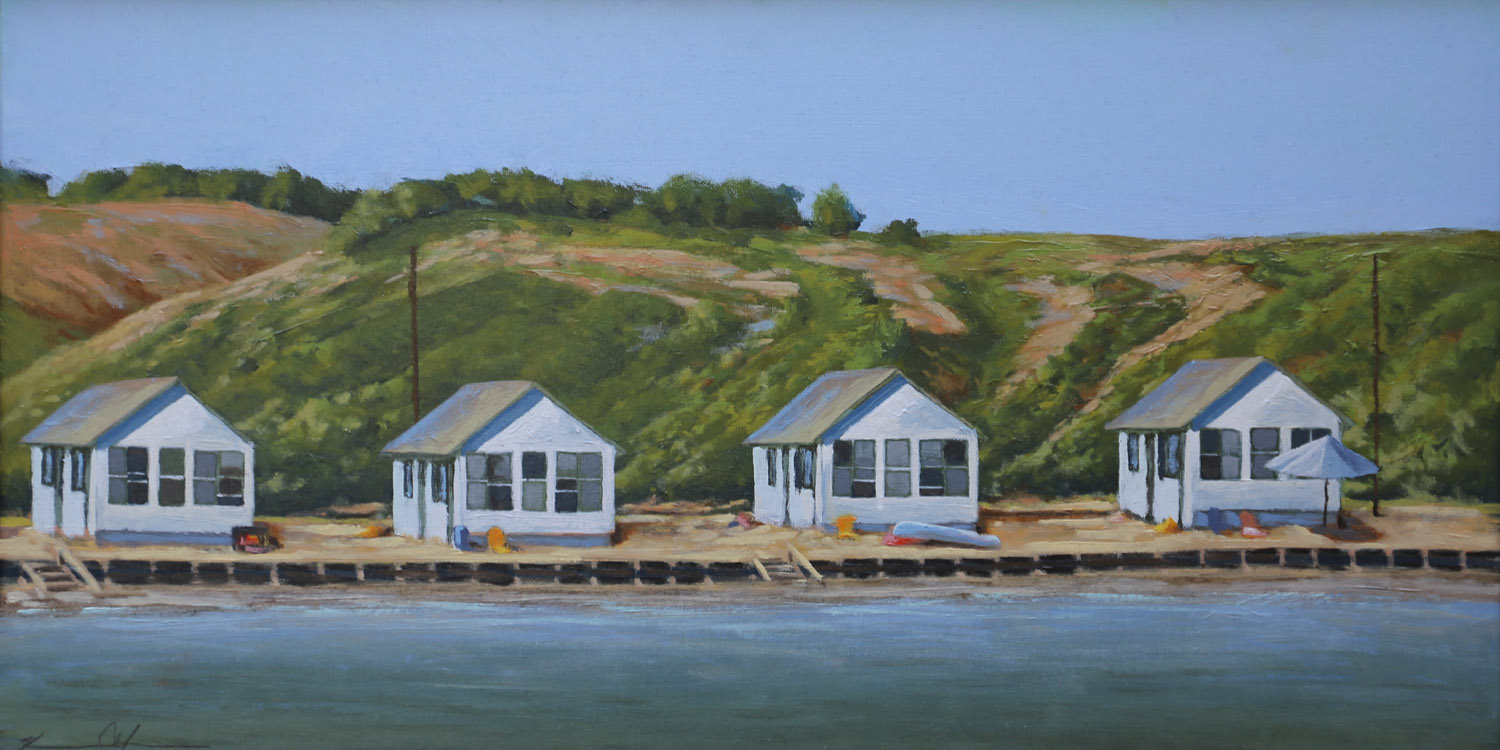 Flower Cottages from a Sailboat 12 X 24 oil on canvas