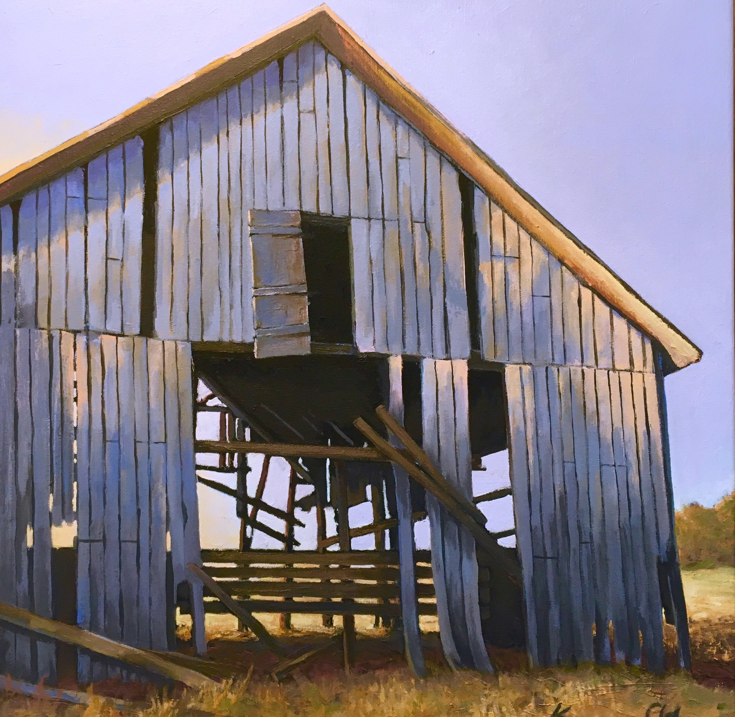 Blue Barn:Morning Light 20 X 20 oil on canvas (SOLD)