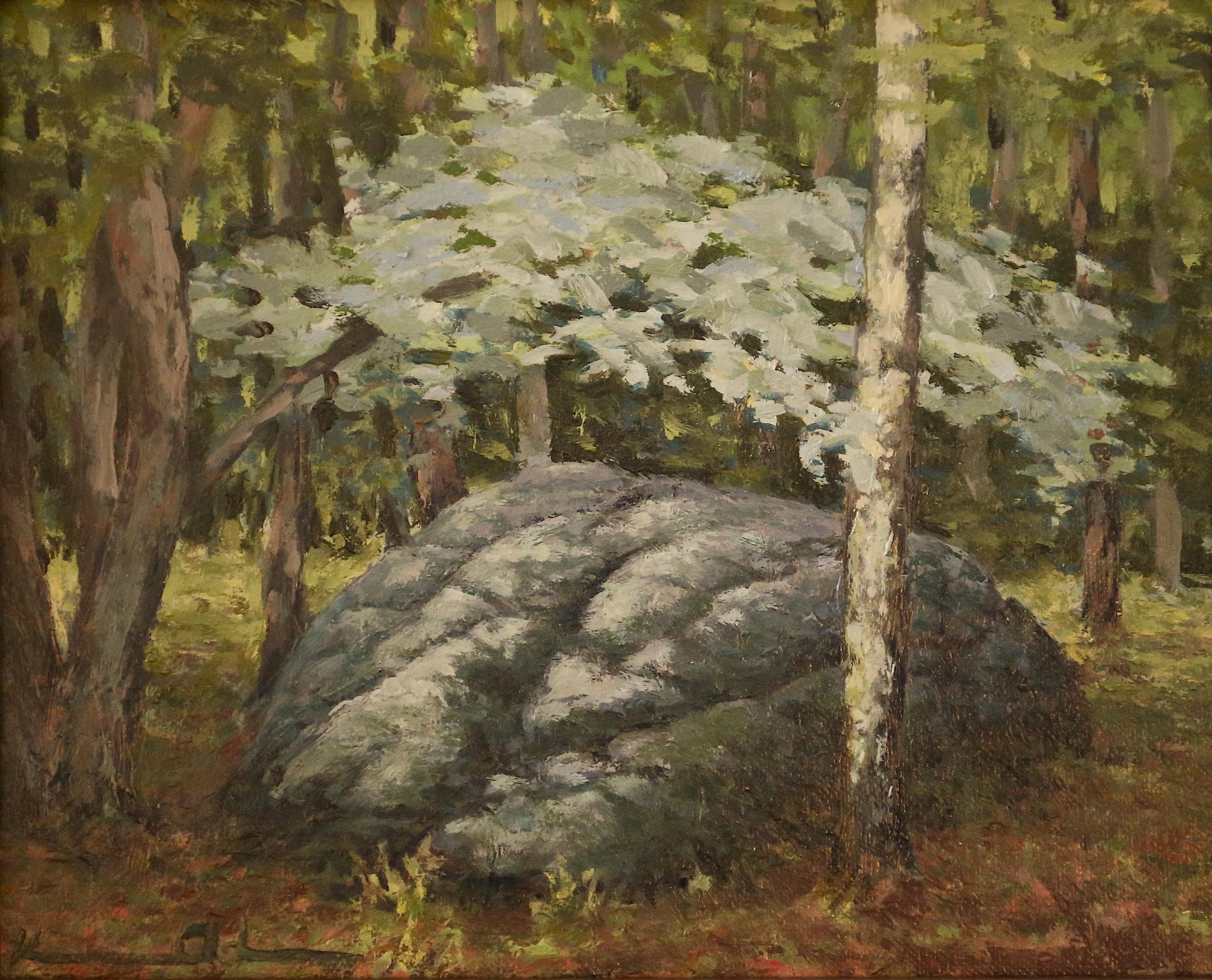 Trailhead Rock  8 X 10 oil on panel