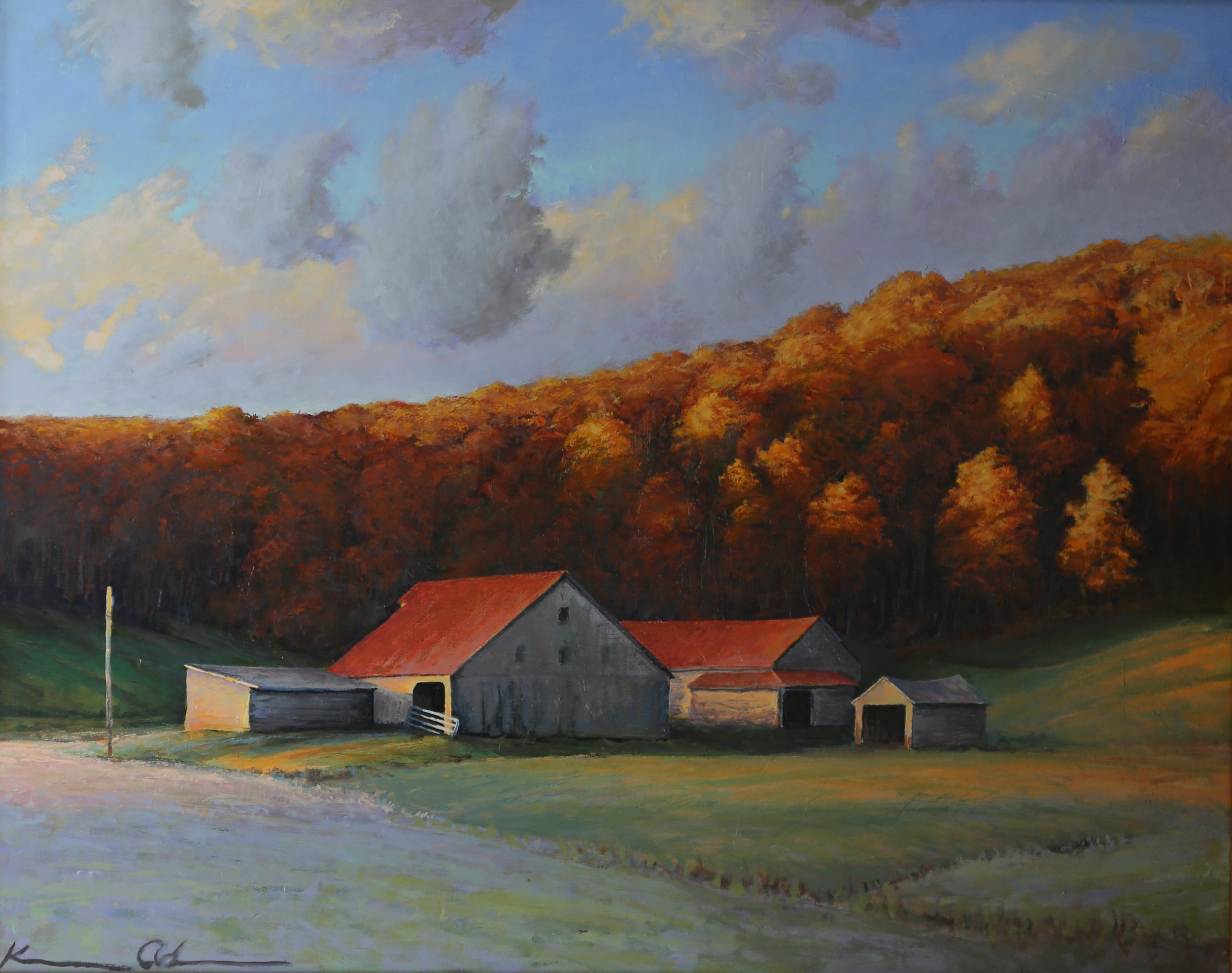 """ Ginger Hill in Fall Color "" 24 X 30 oil on canvas"