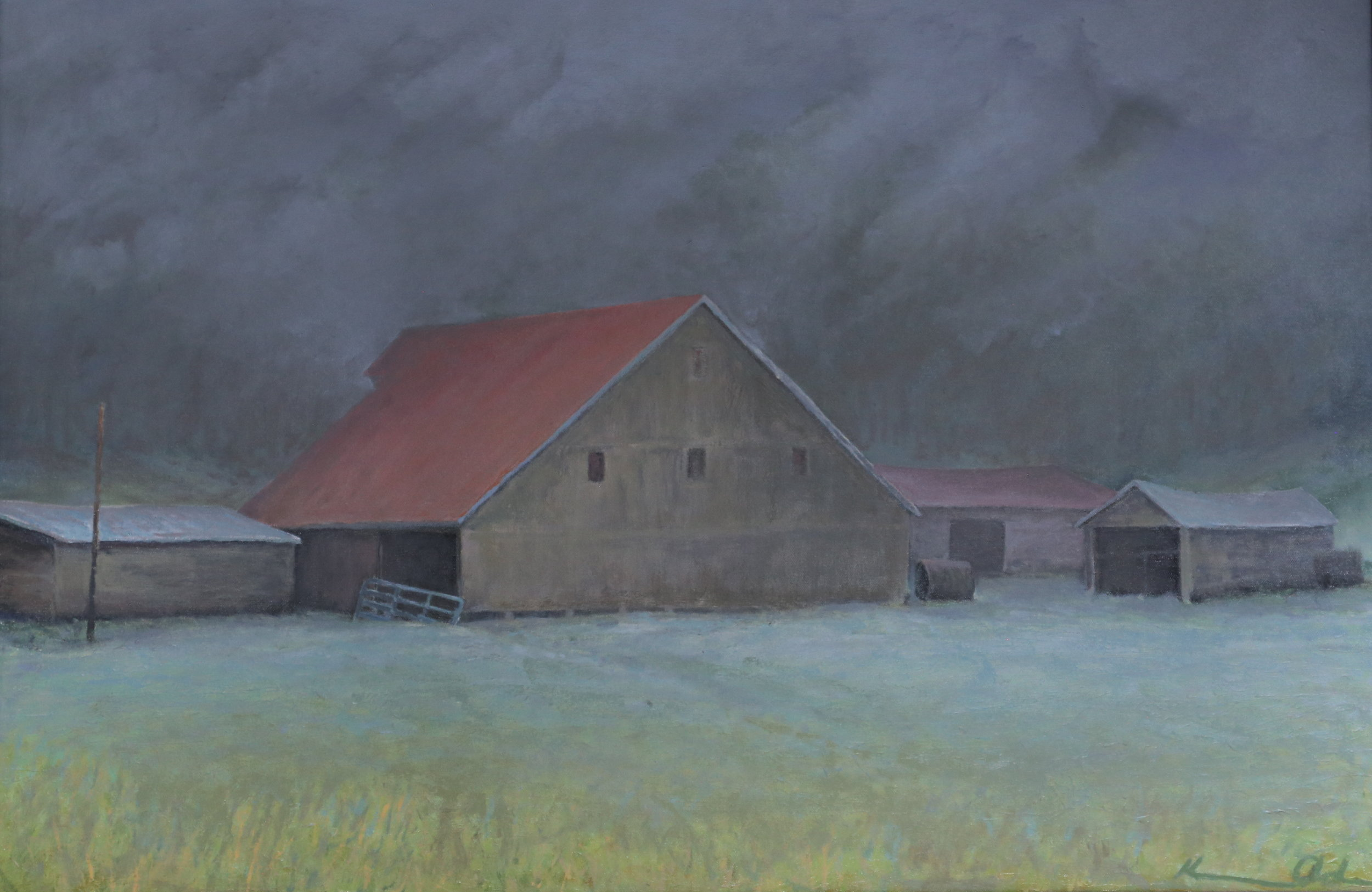 """ Ginger Hill in Fog ""  24"" X 36""  oil on canvas"