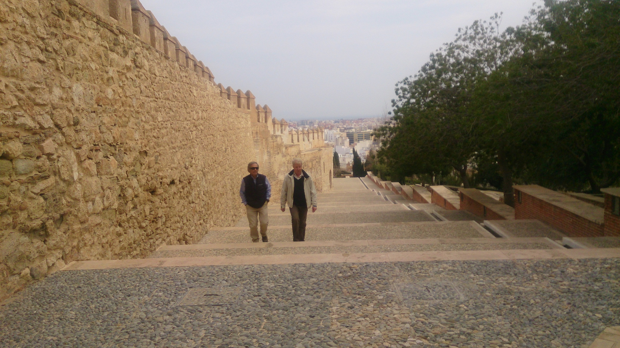 Walking to the top of Almeria at the Alcazaba