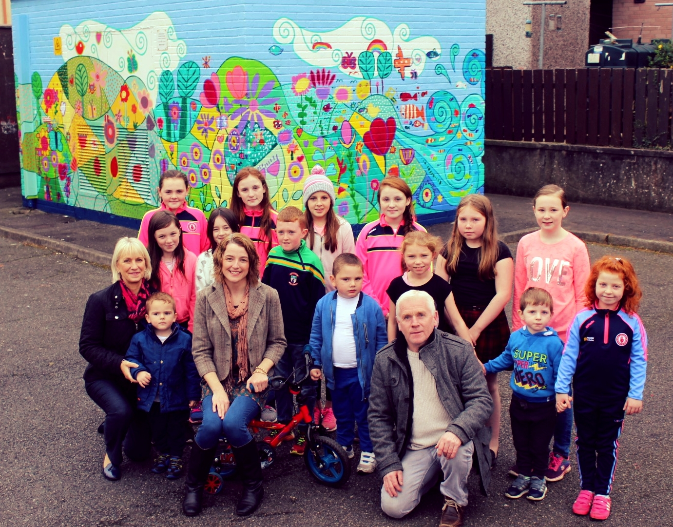 Artist Mary T. worked with local children to design and create the mural.