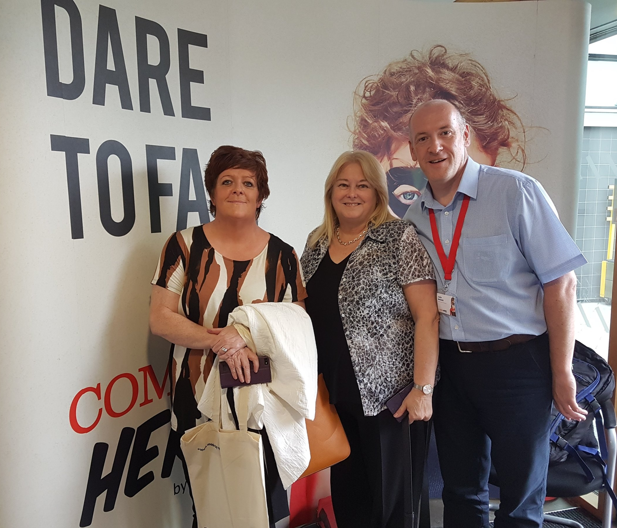 Deirdre Crawford, Linda Watson, and COlm McDaid arrive in London for Comms Hero 2017