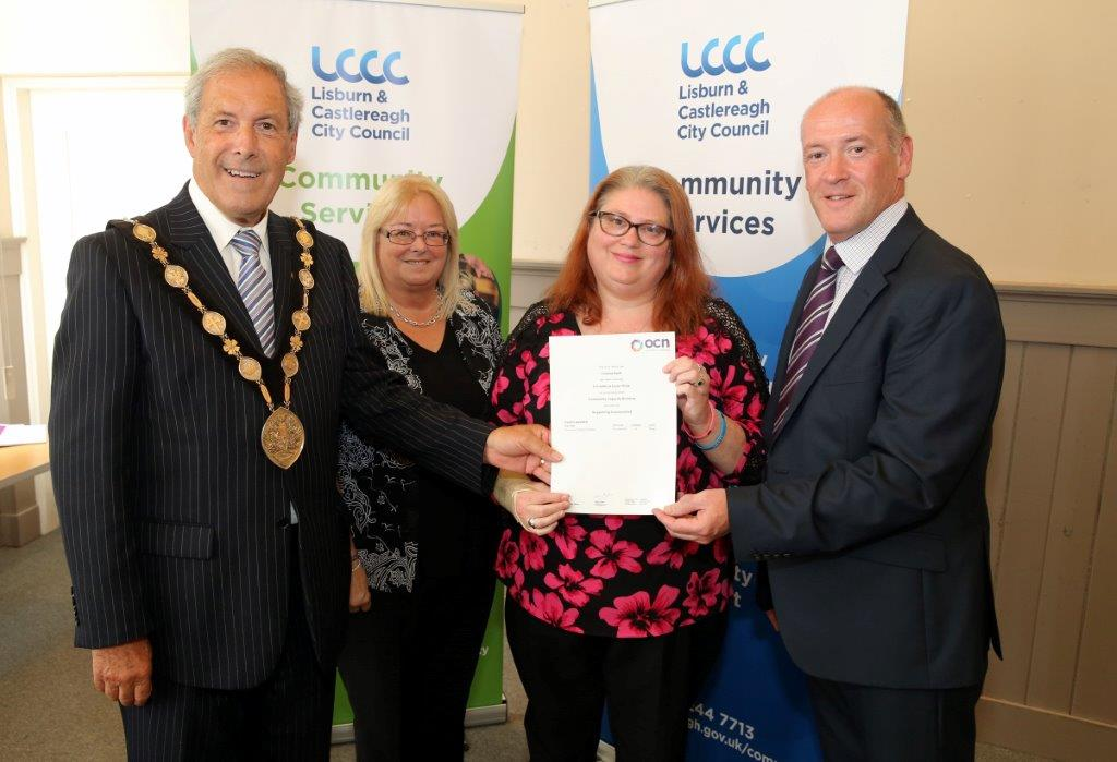 Yvonne Swift, Lead Volunteer at Lisburn Downtown Centre completed Community Capacity Building Levels 1 –3.