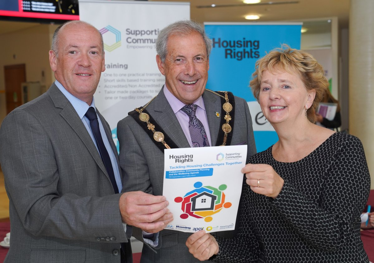 Colm McDaid, Supporting Communities, Mayor of LCCC, Uel Macklin, and Janet Hunter, Housing Rights