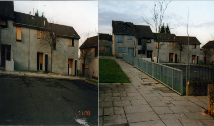 Boarded up and burnt out houses on the estate in the early 90's.