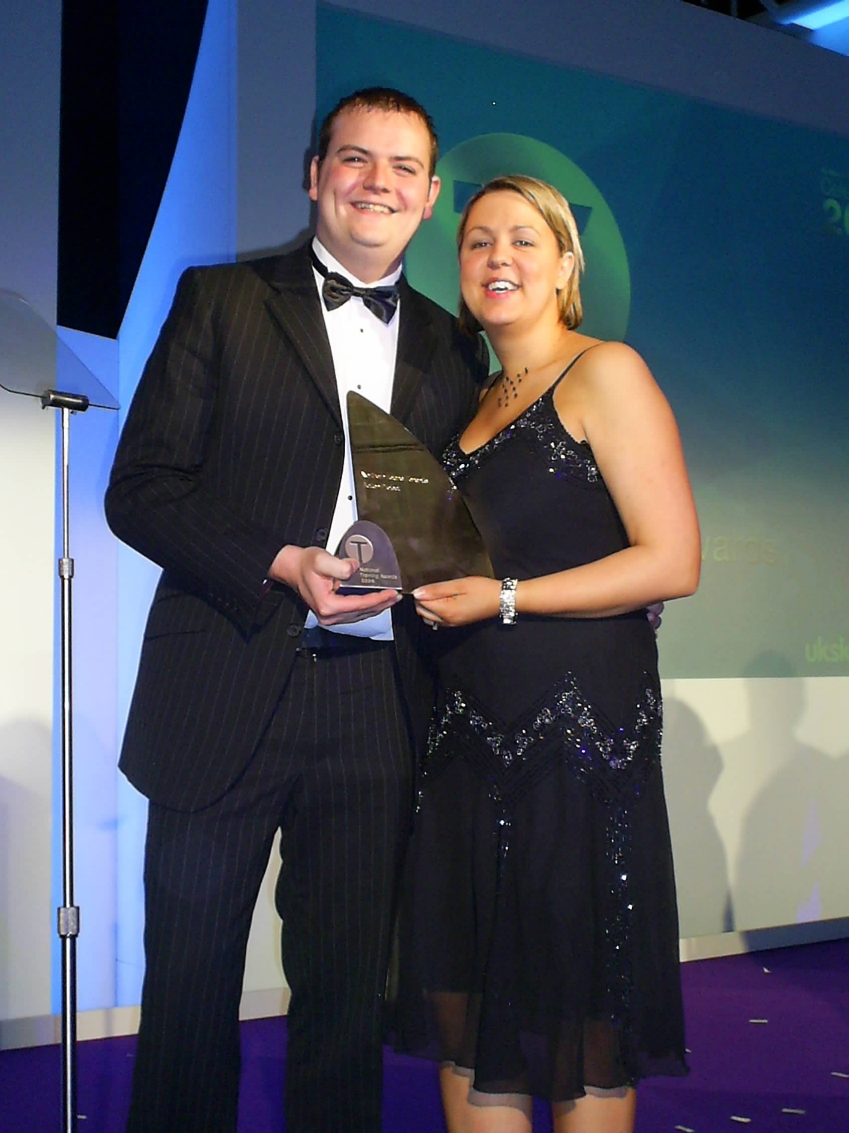 Former training officers Ryan Black and Stephanie Kenny-Quinn receiving a National Training Award in 2006.